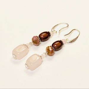 Rose Quartz & Chocolate Dessert Earrings